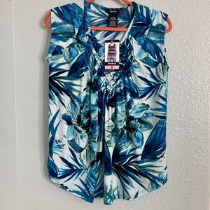 Blue Hawaiian Floral Print Blouse